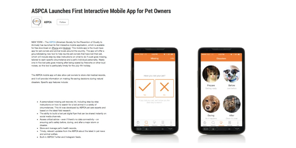 ASPCA mobile app